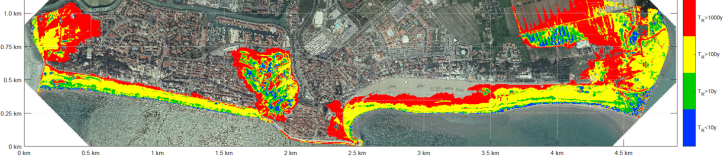 Map of the coastal flooging hazard in Caorle